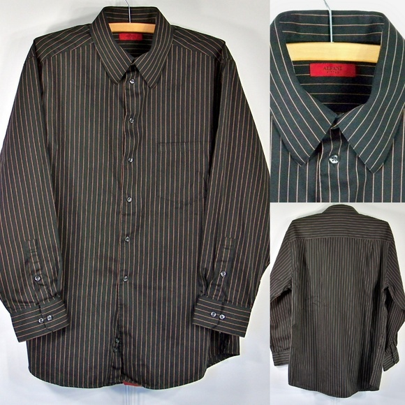 Alfani Mens Pinstripe Button Up Shirt